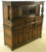 Antique Style Carved Oak Court Cupboard by Old Charm - SOLD